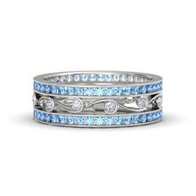 14K White Gold Ring with Diamond and Blue Topaz