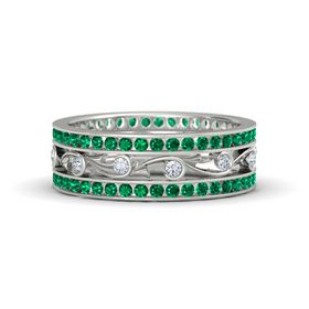 14K White Gold Ring with Diamond and Emerald
