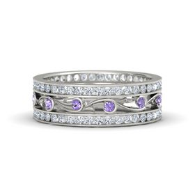 14K White Gold Ring with Iolite and Diamond