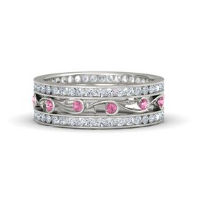 14K White Gold Ring with Pink Tourmaline & Diamond