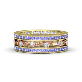 14K Yellow Gold Ring with Diamond and Tanzanite