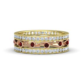 14K Yellow Gold Ring with Red Garnet and Diamond