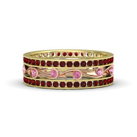 14K Yellow Gold Ring with Pink Tourmaline and Red Garnet