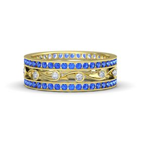14K Yellow Gold Ring with Diamond & Sapphire