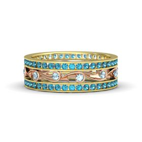 14K Yellow Gold Ring with Aquamarine and London Blue Topaz