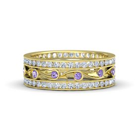 14K Yellow Gold Ring with Iolite and Diamond