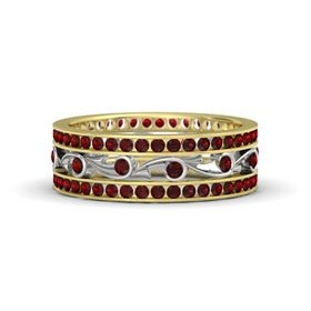 14K Yellow Gold Ring with Red Garnet