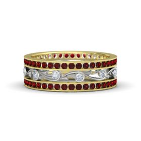 14K Yellow Gold Ring with Diamond and Red Garnet