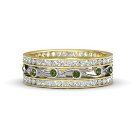 14K Yellow Gold Ring with Green Tourmaline and Diamond