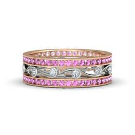 18K Rose Gold Ring with Diamond and Pink Sapphire