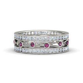 18K White Gold Ring with Rhodolite Garnet and Diamond