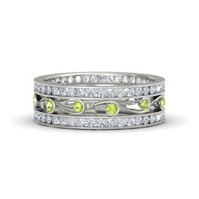 18K White Gold Ring with Peridot & Diamond