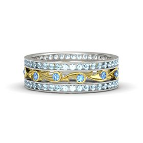 18K White Gold Ring with Blue Topaz & Aquamarine