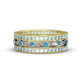 18K Yellow Gold Ring with London Blue Topaz and Aquamarine