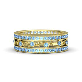 18K Yellow Gold Ring with Blue Topaz