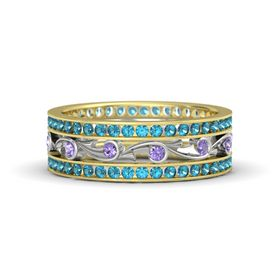 18K Yellow Gold Ring with Iolite and London Blue Topaz