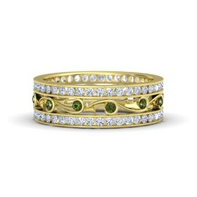 18K Yellow Gold Ring with Green Tourmaline & Diamond