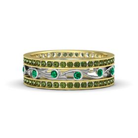 18K Yellow Gold Ring with Emerald & Green Tourmaline