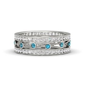 Palladium Ring with London Blue Topaz & White Sapphire
