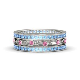 Palladium Ring with Pink Tourmaline and Blue Topaz