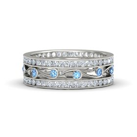 Palladium Ring with Blue Topaz and Diamond