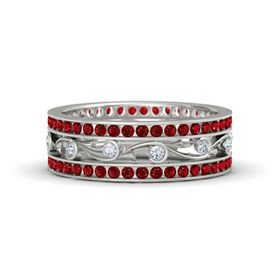 Platinum Ring with Diamond and Ruby