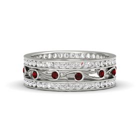 Platinum Ring with Red Garnet & White Sapphire
