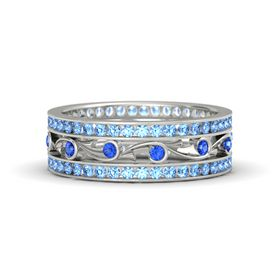 Platinum Ring with Sapphire & Blue Topaz