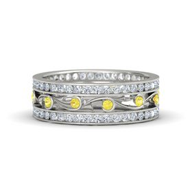 Platinum Ring with Yellow Sapphire & Diamond