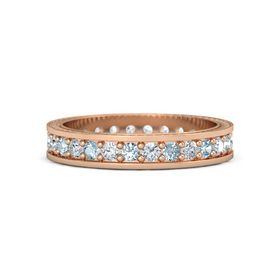 14K Rose Gold Ring with Aquamarine & Diamond