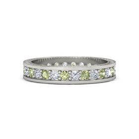 14K White Gold Ring with Peridot & Diamond