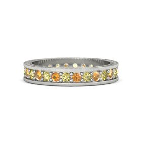 14K White Gold Ring with Yellow Sapphire and Citrine