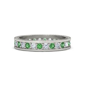 Platinum Ring with Emerald & Diamond