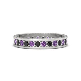 Sterling Silver Ring with Black Diamond and Amethyst