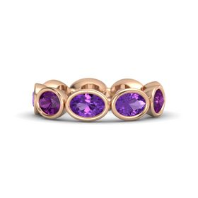 Oval Amethyst 14K Rose Gold Ring with Amethyst and Rhodolite Garnet