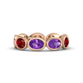 Oval Amethyst 14K Rose Gold Ring with Amethyst & Ruby