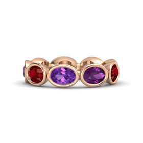 Oval Amethyst 14K Rose Gold Ring with Rhodolite Garnet and Ruby