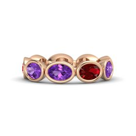 Oval Amethyst 14K Rose Gold Ring with Ruby and Amethyst
