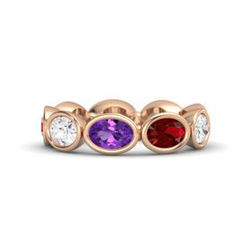 Oval Amethyst 14K Rose Gold Ring with Ruby and White Sapphire