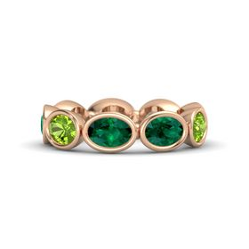 Oval Emerald 14K Rose Gold Ring with Emerald and Peridot