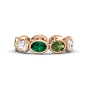Oval Emerald 14K Rose Gold Ring with Green Tourmaline and White Sapphire