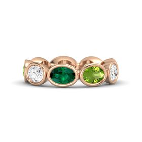 Oval Emerald 14K Rose Gold Ring with Peridot and White Sapphire
