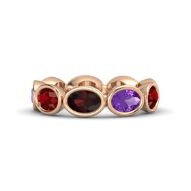 Oval Red Garnet 14K Rose Gold Ring with Amethyst and Ruby