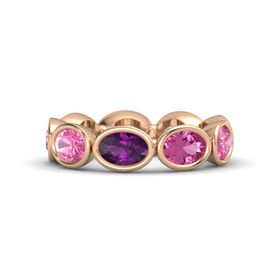 Oval Rhodolite Garnet 14K Rose Gold Ring with Pink Sapphire and Pink Tourmaline