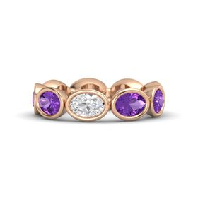 Oval White Sapphire 14K Rose Gold Ring with Amethyst
