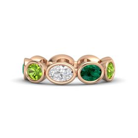 Oval White Sapphire 14K Rose Gold Ring with Emerald and Peridot