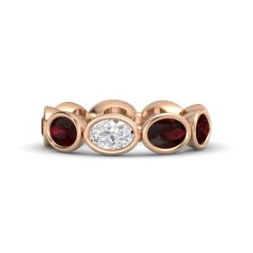 Oval White Sapphire 14K Rose Gold Ring with Red Garnet