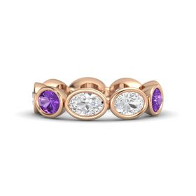 Oval White Sapphire 14K Rose Gold Ring with White Sapphire and Amethyst