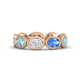 Oval White Sapphire 14K Rose Gold Ring with Blue Topaz and Aquamarine