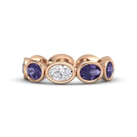 Oval White Sapphire 14K Rose Gold Ring with Iolite